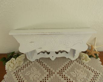 White Shabby Chic Wall Shelf Up Cycled Vintage Carved Wood Beach Cottage Coastal Seaside French Country Farmhouse Kitchen Home Decor