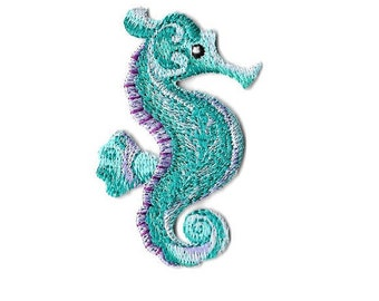 Seahorse - Ocean - Beach - Turquoise - Embroidered Iron On Applique Patch
