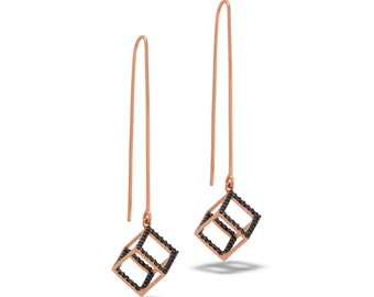 Geometric Hexahedron Dangle Earrings (d6) Cube, dainty, minimalist,  and hypoallergenic. handmade 925 Sterling silver plated gold.