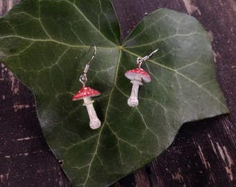 Fly agaric, Amanita muscaria earrings