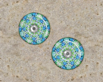 2 cabochons 20 mm round resin with Rhinestone