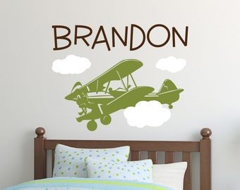 Plane Decal - Kids Name Wall Decals - Plane Decal Vinyl Wall Art - Vinyl Lettering - baby boy nursery wall decal - Boys Room Decal