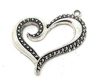 Charm Heart Rhinestone silver metal effect ages