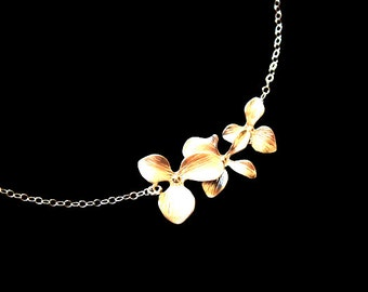 Triple Orchid Necklace  in GOLD , wedding bridal jewelry, brides bridesmaid gift, flower girl necklace ,  birthday , Mother's Day gift