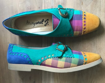 Colorful 50's Margeret J suede loafers, foam sole, 8M