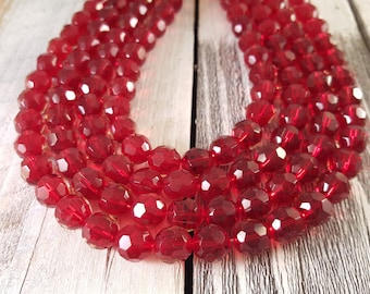 Red Faceted Round Glass Beads 10mm