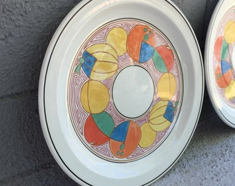 Midwinter Clarice Cliff Melons Dinner Plate Set of 2 / Clarice Cliff Design Plates / Clarice Cliff Newport Pottery Melons