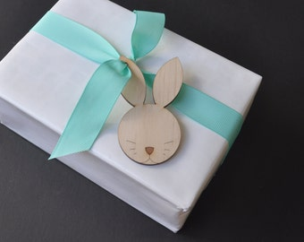 5 x Easter bunny gift tags plywood laser cut