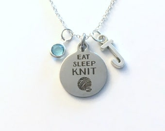 Eat Sleep Knit Necklace, Knitter's Jewelry, Gift for Best Friend Present Birthstone initial letter Besties Crochet Yarn Crafter Knitting her