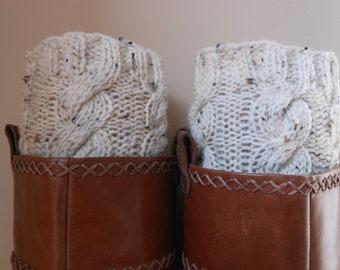Hand Knitted Boot Cuffs Leg Warmers Cream Tweed