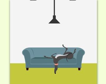 Greyhound sofa print, Greyhound art, Rescue Greyhound art, Retired Greyhound art, Lurcher art, Rescue dog art