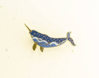 Starry Narwhal Pin (stars ocean sea narwhals whale hard enamel pin gold brooch nature unicorn narwhal arctic animal cute beautiful majestic)