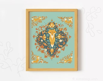 Printable Fox Lore wall art print woodland animal nursery decor PDF download