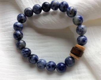 Sodalite Bracelet, Gemstone Bracelet, Wooden Bracelet, Women's Crysta Bracelet