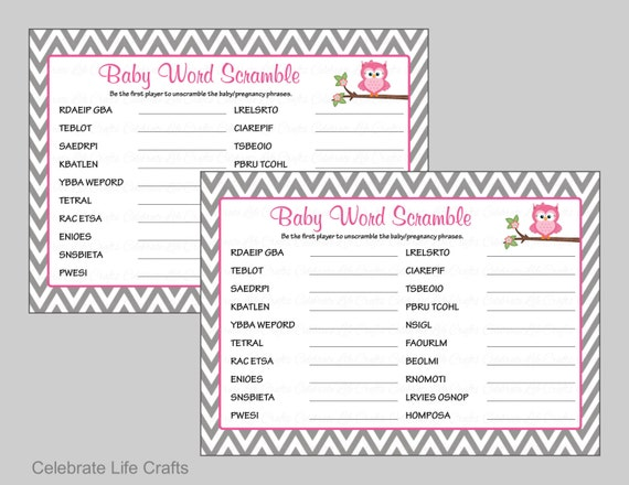 Baby Shower Word Scramble Game U0026 Answer Key Printable