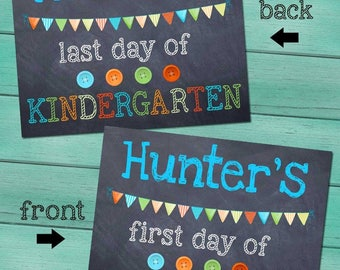 First and Last Day of Kindergarten Personalized CHALKBOARD - Blue FL0004