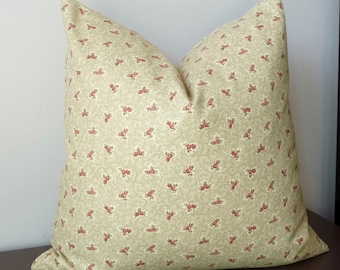 """Designer Vintage Rose Floral Pillow, 20x20, """"Chambri"""" by  Kasmir Fabrics, Small Scale Floral - Same Fabric Front and Back"""