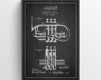 1901 Cornet Patent Wall Art Poster, Vintage Cornet, Cornet  Print, Instrument Poster, Home Decor, Gift Idea, MUIN10P