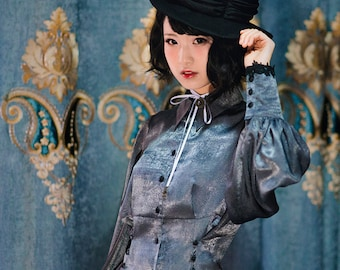 Vintage Retro Chic Women Oversized Shirt Casual Long Sleeves Spring Autumn Grey Blouse