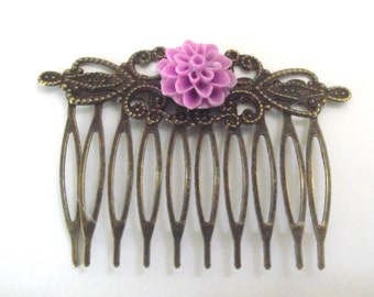 Hair Comb Scrolled Antique Bronze with Purple  flower
