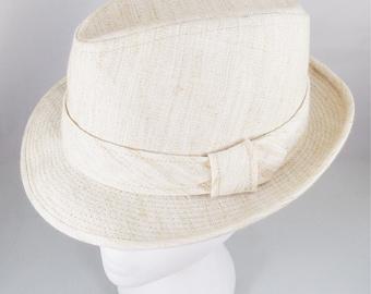 Harvard Fedora Custom Tailored Hat, Vintage Summer Beige Linen Hat, Size 7 1/8, 1960s Harvard Custom Styled Hat