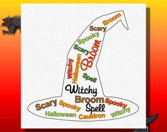 Digitized EmbroideryDesign -Witch, Witch Hat, Halloween, Halloween Words
