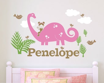 Dinosaur Wall Decal Brontosaurus Girl Personalized Name Dinosaur Nursery Room Decor Wall Sticker