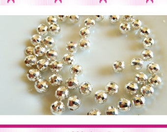 50 silver 6 mm faceted round beads-