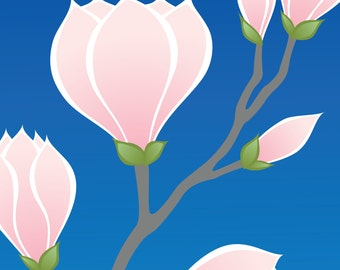 Pink Magnolia Flower Art Print, Mothers Day Nature Spring Decor Wall Art Wall Decor Blue Home Decor Illustration Floral Print