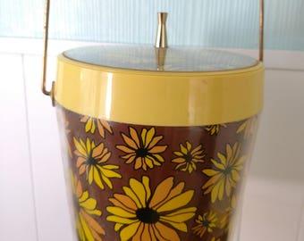 vintage yellow daisy ice bucket