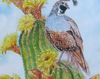original desert cactus quail watercolor painting, home decor, cactus flowers art, flower art, wall decor, southwest art, desert bird art