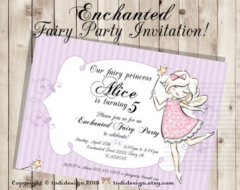 Enchanted Fairy Birthday Party Invitation - Printable digital file