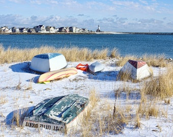 Snow on Museum Beach, Scituate, MA, rowboats, coastal decor, nautical decor, Massachusetts, South Shore, New England, archival, signed print