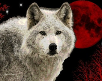 White Wolf Art, Red Blood Moon, Southwestern Wolves, Native American Totem Animal, Cabin Home Decor, Wall Hanging, Giclee Print, 8 x 10