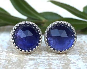genuine iolite 8mm faceted round  sterling silver stud earrings - dark blue studs - gemstone studs - iolite studs - 8mm studs - blue studs