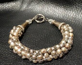 Pearl Sterling Bracelet, Woven Gray Cultured Pearls, Vintage