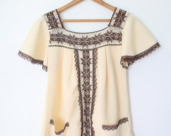vintage brown and cream fringe embroidered tunic top