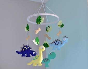Nursery Dinosaur Mobile - Baby Dinosaur Mobile - Felt Mobile - MADE TO ORDER