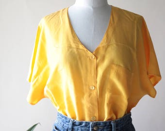 Vintage 100% Yellow Silk Button Up Short Sleeve Blouse, Shirt