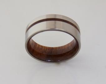 Titanium and Hawaiian Koa Rings // Mens Wood Rings //wood Wedding Band //Men's wedding Band //metal wood jewelry