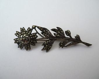 Art Deco Marcasite Silver Flower Brooch