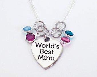 Mimi Necklace, Mimi Gifts, Best Mimi, Mothers Day Gift for Grandma, Mimi Gift Ideas, Mimi Grandma Gift, Birthstone Necklace for Mimi, Mimi