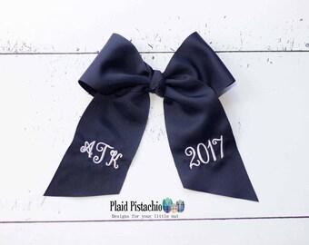 Graduation Cap Bow - Custom cap bow - Monogram/Year Small