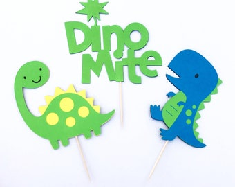 Dinosaur Cupcake Toppers / Dinosaur Party / Baby Shower / Birthday Party / Dinosaur Themed Decorations / Dino / Dinomite