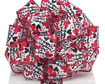 1.5 x 5 yards- Valentine print ribbon, Valentine ribbon, valentine ribbons, valentines day ribbon, Happy Valentines Day Ribbon