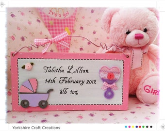 New Baby Birth Record Picture Sign Plaque - Personalised with Name and birth details, Available for a boy or girl