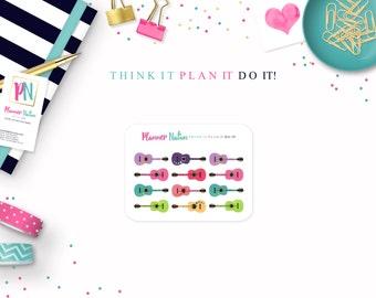 Guitar Planner Sticker - Guitar Lesson Planner Sticker  - Perfect for Erin Condren, Happy Planner, Filofax, Plum Planner, Kikki K and more!