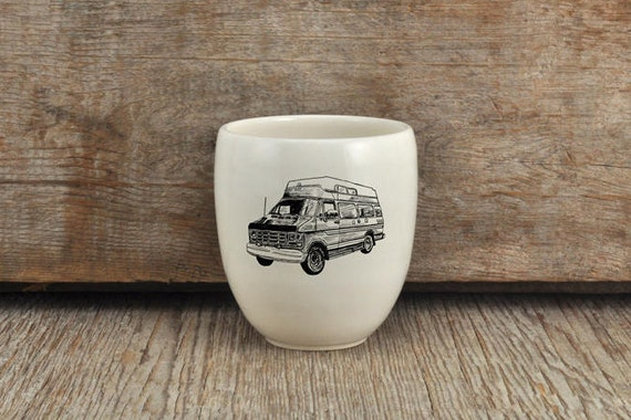 Porcelain coffee tumbler with vintage campwagon drawing by Cindy Labrecque