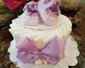 One Tier Lavender / Diaper Cake For Baby Girl / Baby Shower Centerpiece / Elegant Diaper Cakes /  Baby Shower Gift