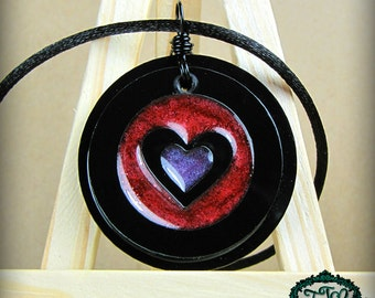 Heart Bullseye Resin and Acrylic OOAK Necklace in Red